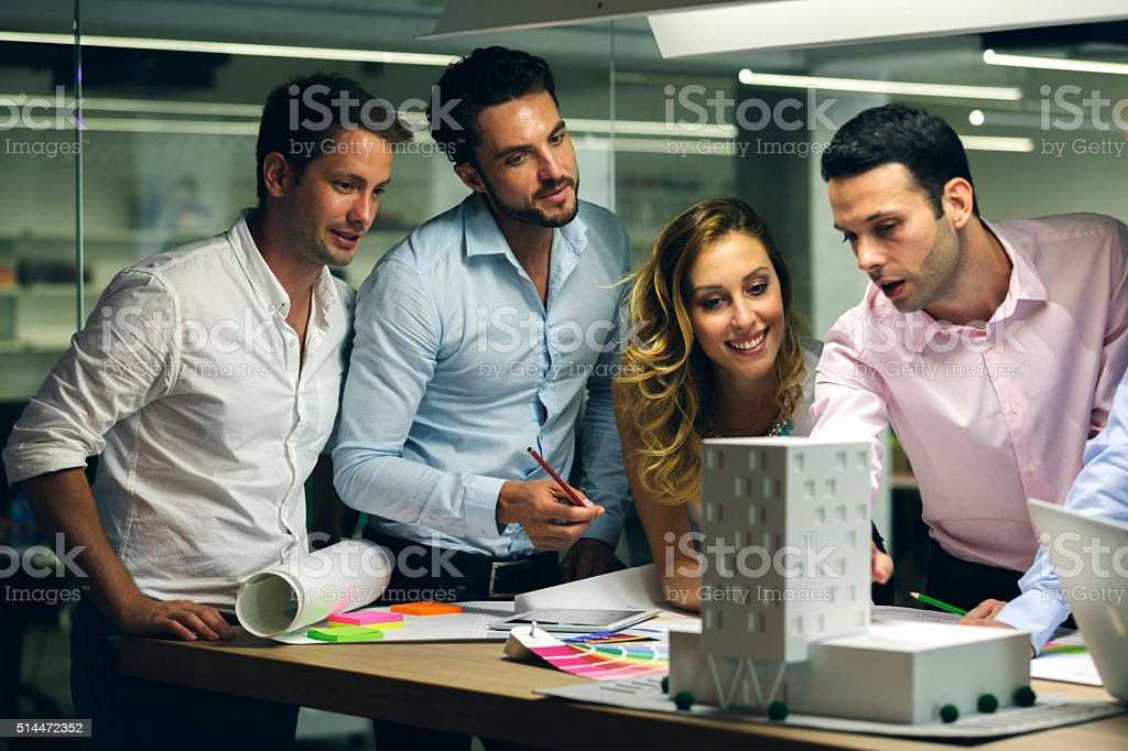 Architects expertise architectural model in the office. stock photo