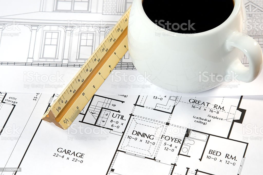 Architects Home Drawings royalty-free stock photo