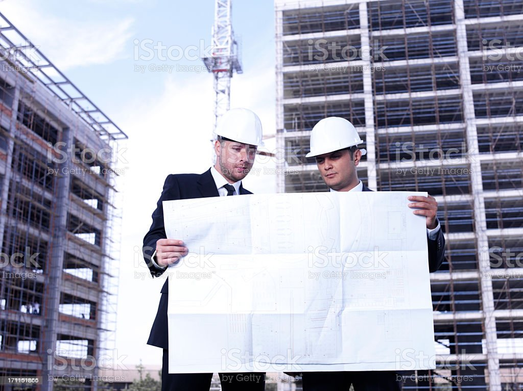 Architects in a building site royalty-free stock photo
