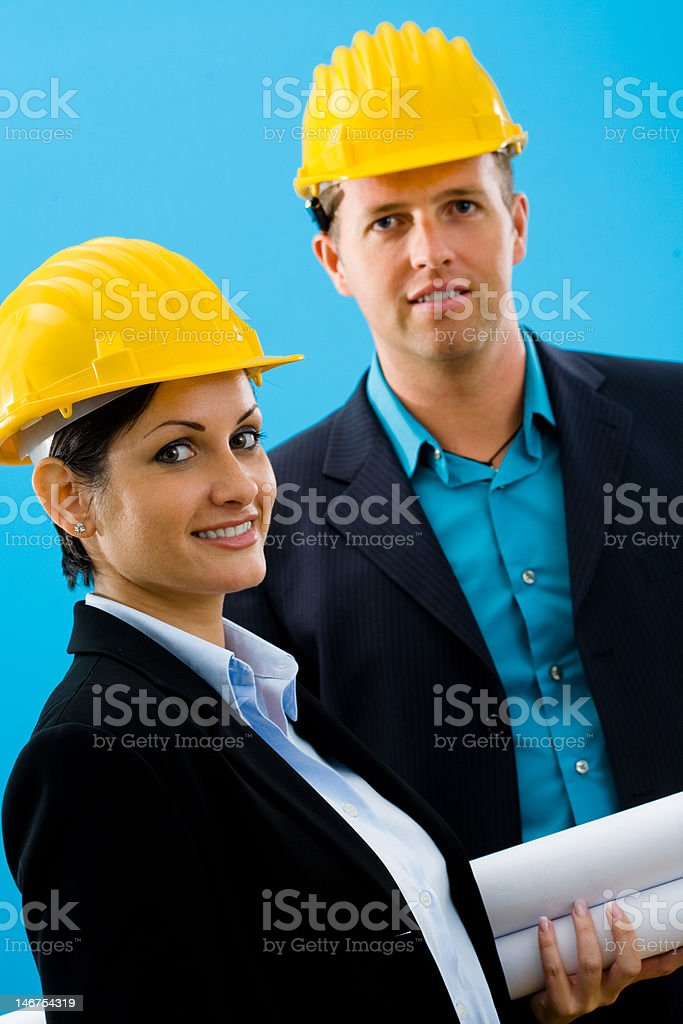 Architects in hardhat royalty-free stock photo
