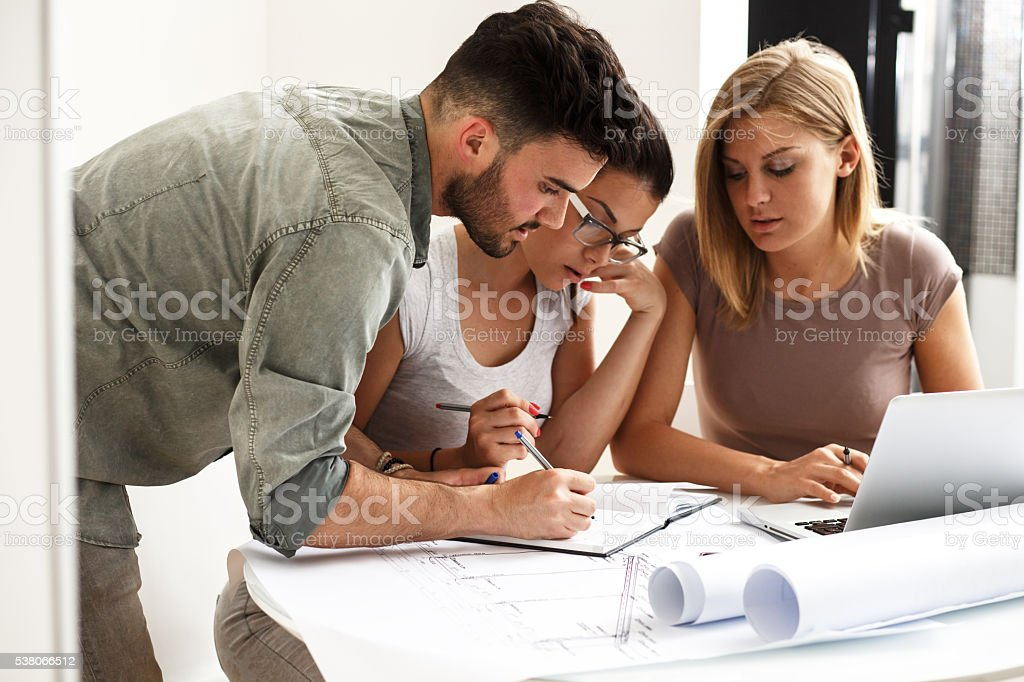 Architects in office. stock photo