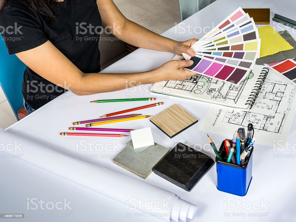 Architects Interior Designer Hands Working With Color Swatch Material Sample Royalty Free Stock