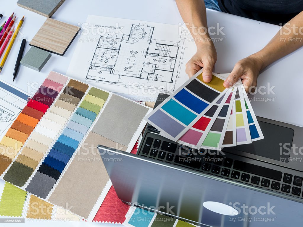 Architects Interior Designer Hands Working With Laptop Computer Material Sample Royalty Free Stock