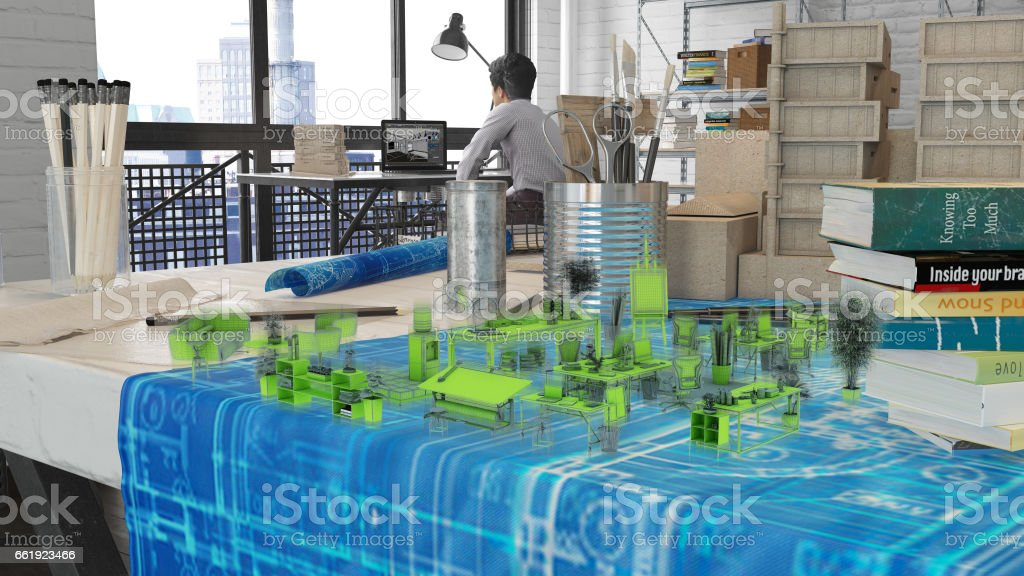 Architects Office Augmented Reality Design stock photo