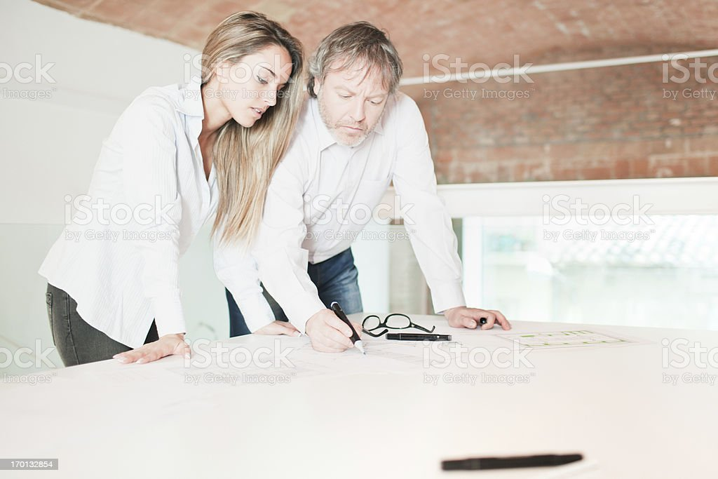 Architects or designers working together royalty-free stock photo