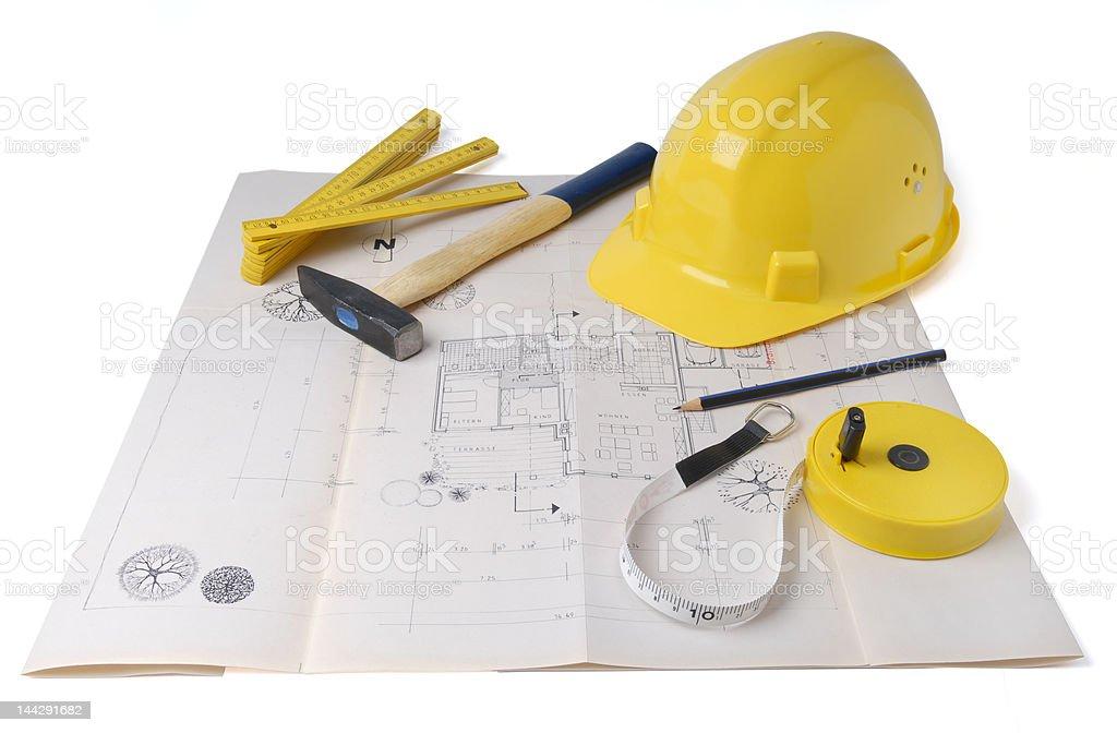 architect's plan stock photo
