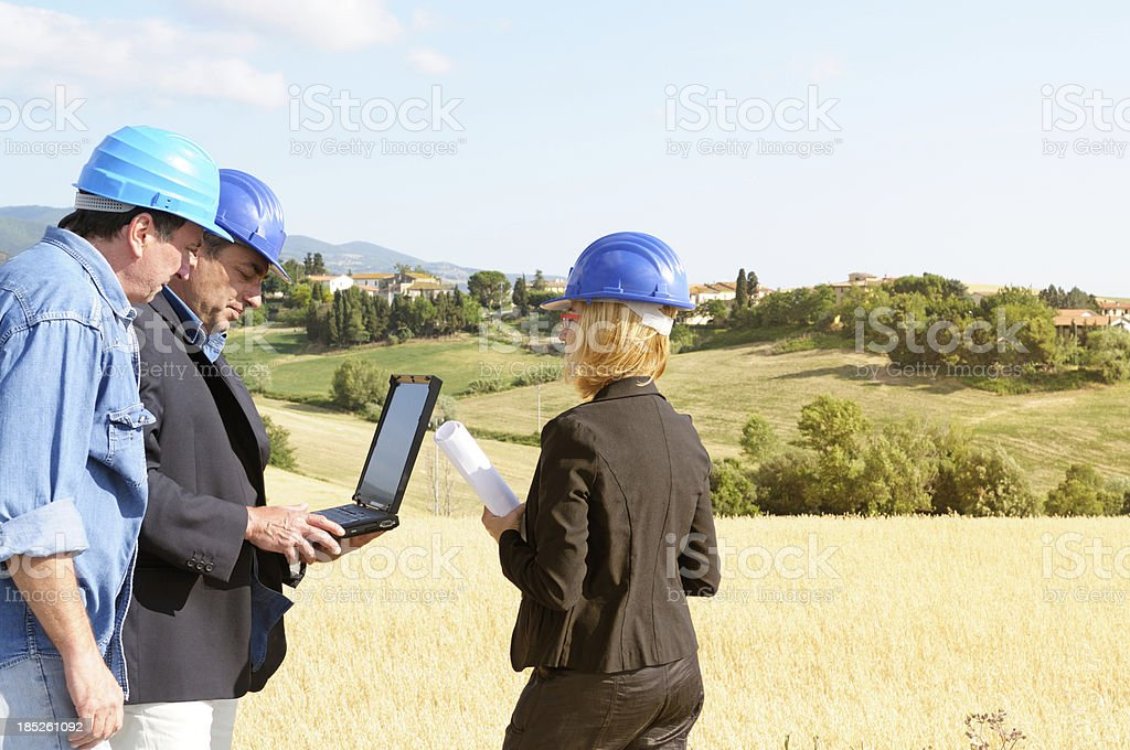 Architects Planning PC in the Countryside royalty-free stock photo