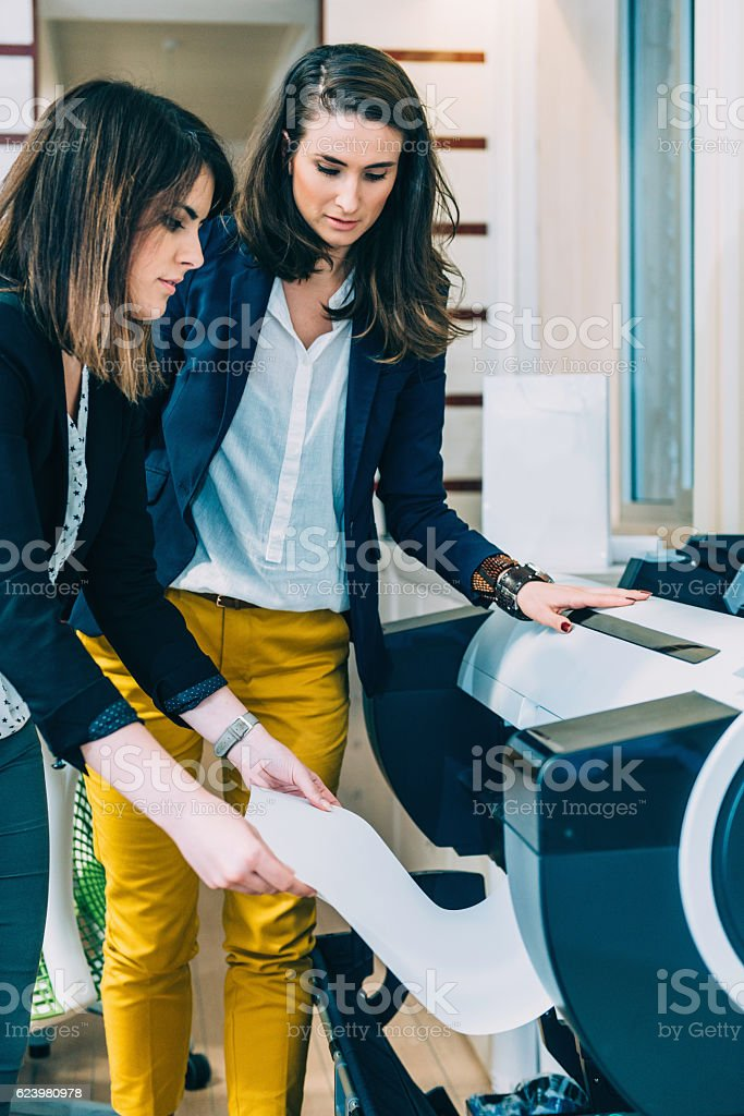 Architects printing a project stock photo