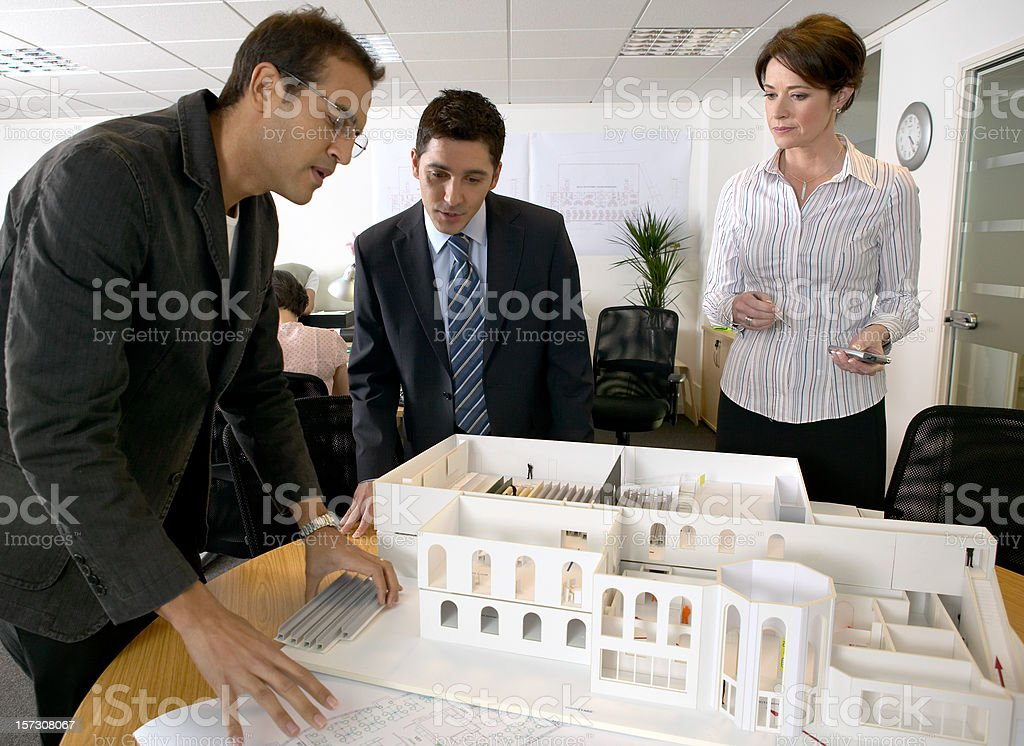Architects studio. N.B.* mocked up plans and model. royalty-free stock photo