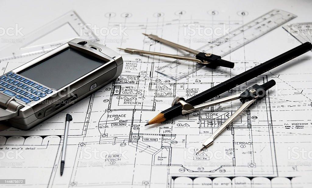 architect's tools royalty-free stock photo