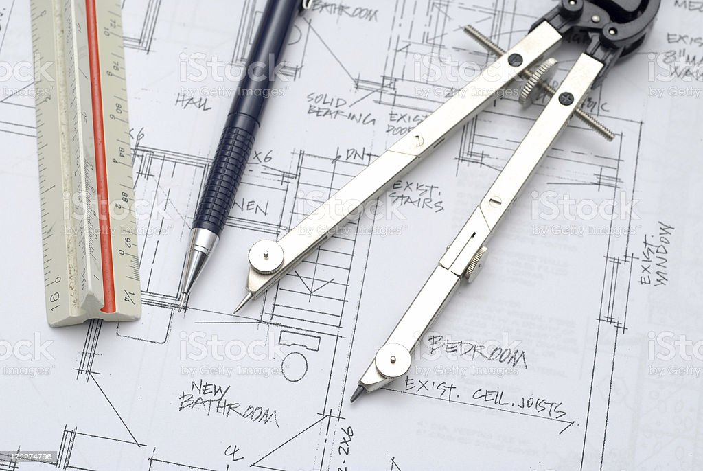 architect's tools royalty-free stock photo