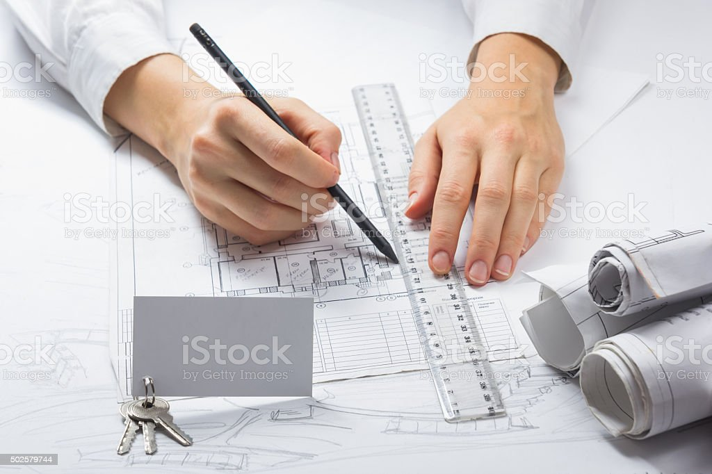 Architects workplace stock photo