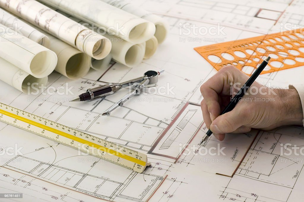 Architect's Workplace royalty-free stock photo