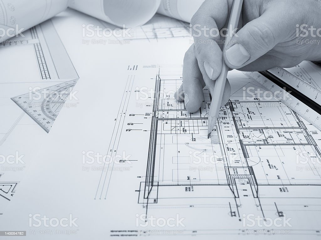 Architect's workspace royalty-free stock photo