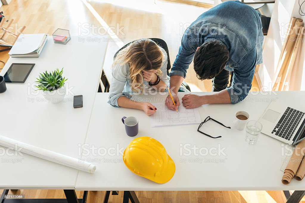 Architects workspace stock photo