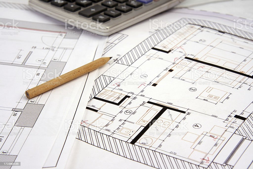 Architect's workspace with plans royalty-free stock photo