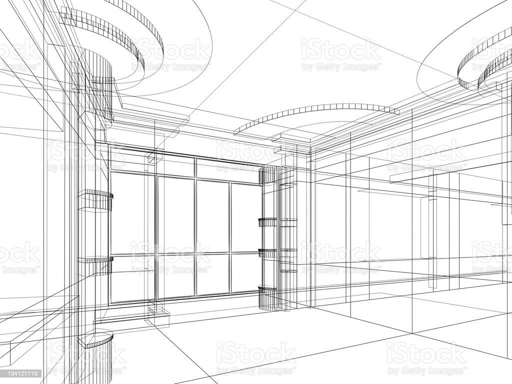architectural abstract sketch stock photo