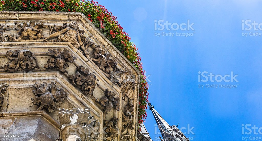 Architectural abstract view from Marienplatz, Munich, Germany stock photo