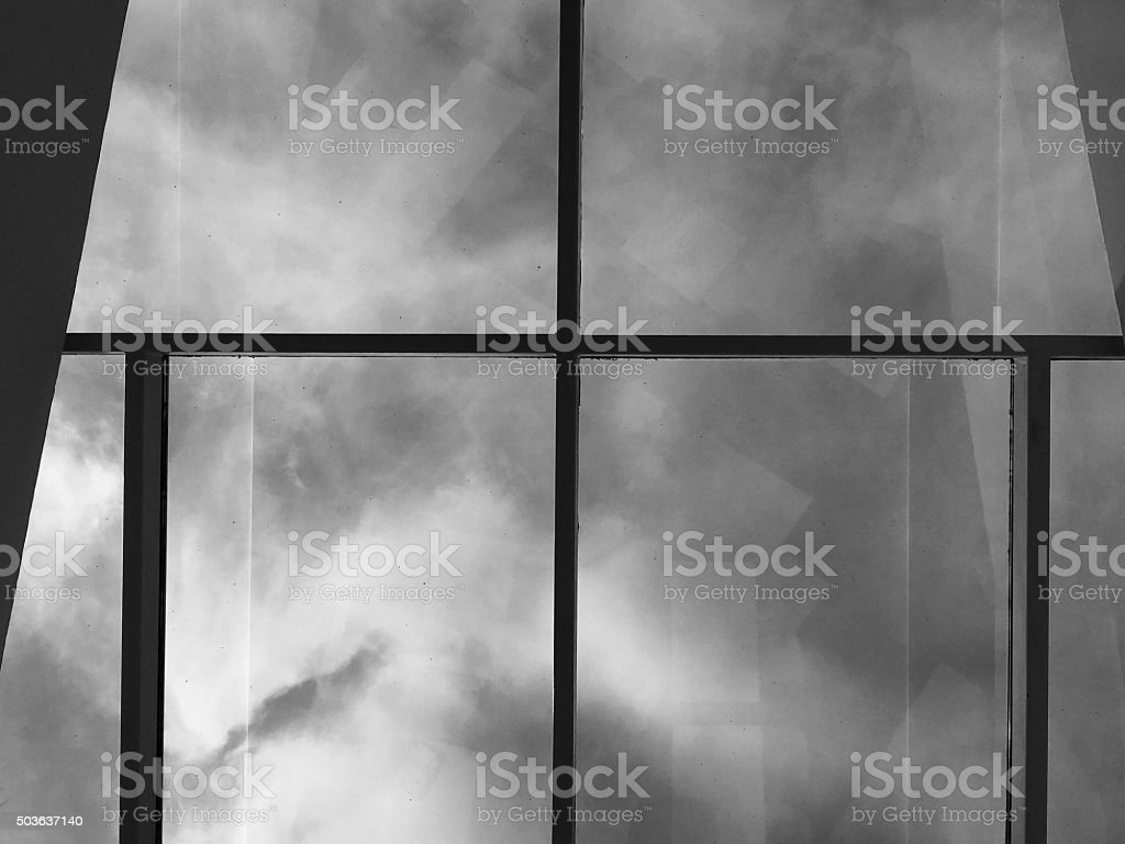 Architectural Abstract with Large Glass Panels stock photo