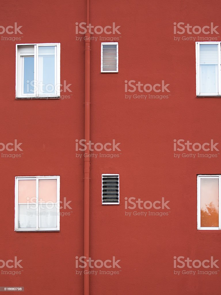 architectural abstraction with red wall stock photo