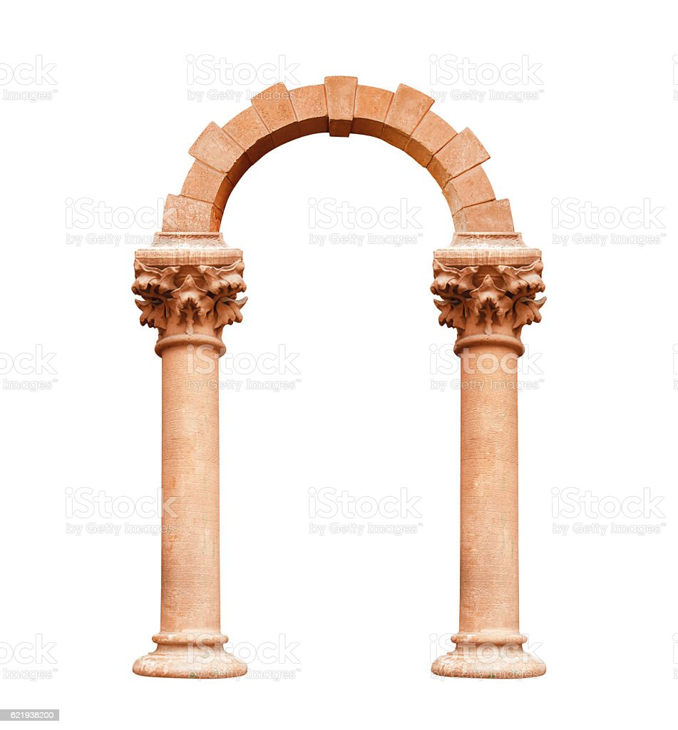 architectural Ancient arch isolated on white background stock photo