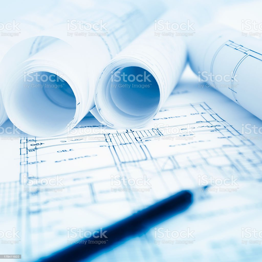 Architectural and Engineering blue print project royalty-free stock photo