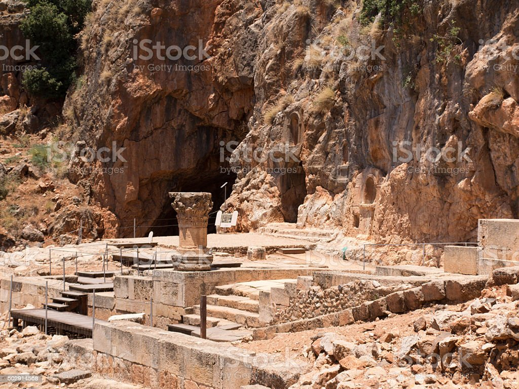 Architectural antiquities in natural reservation of Hermon river stock photo