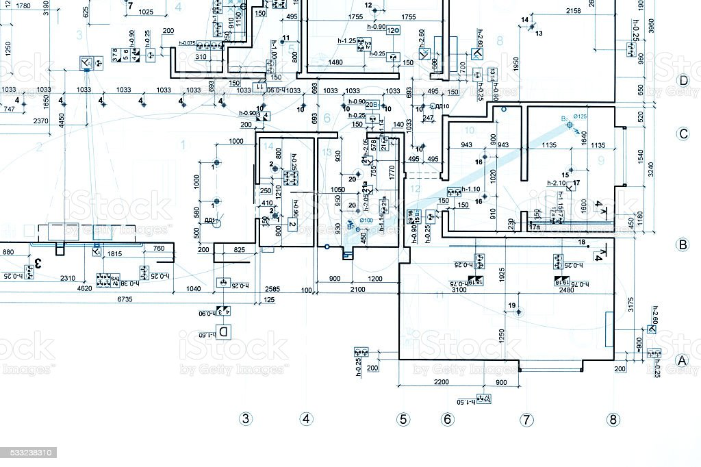 architectural background, drawing technical plan stock photo