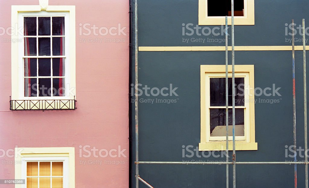 Architectural background with windows and geometrical partitions stock photo