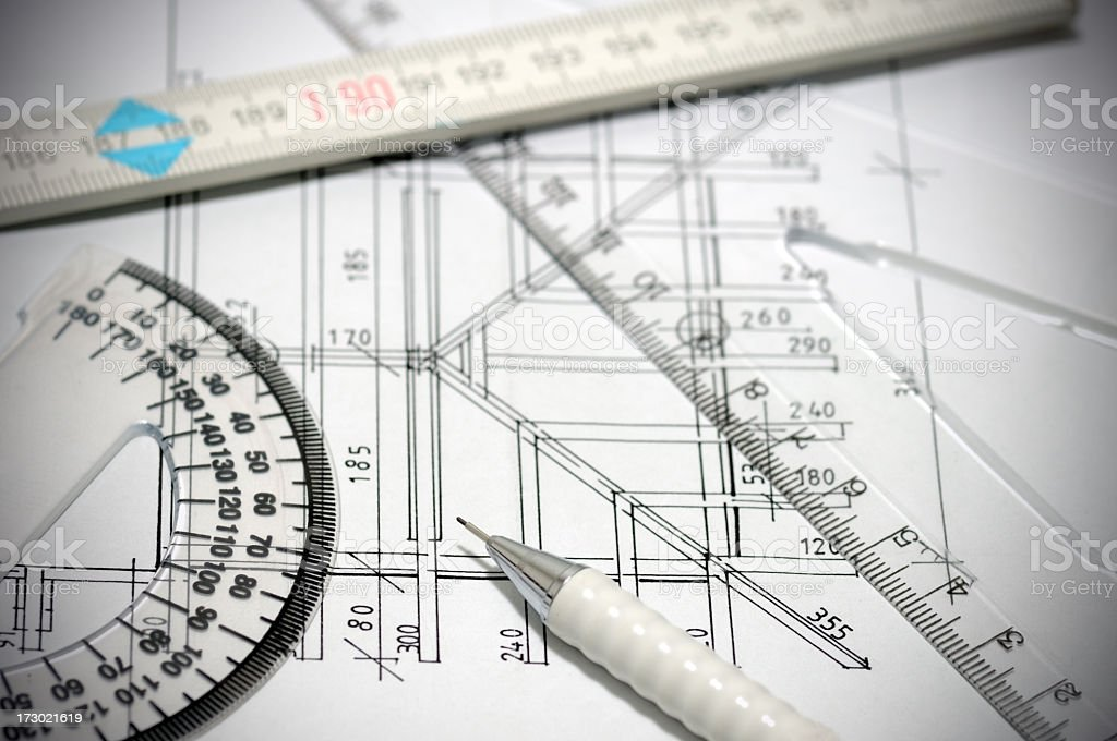 Architectural blueprint and tools royalty-free stock photo