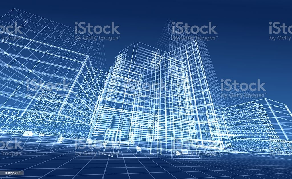 Architectural blueprint designs for contemporary buildings royalty-free stock vector art