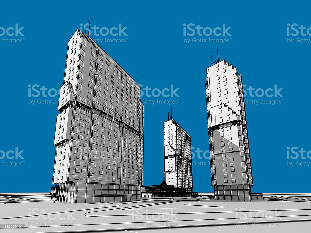 Architectural blueprint of contemporary buildings stock photo