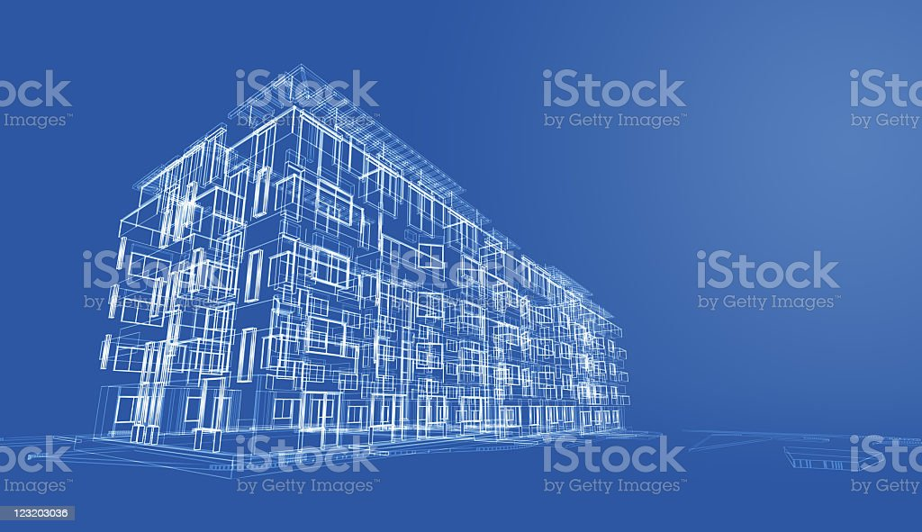Architectural blueprint render in wireframe royalty-free stock photo