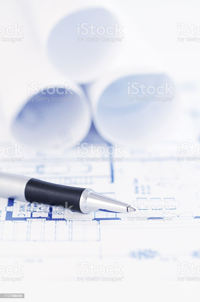 Architectural blueprint with pen stock photo