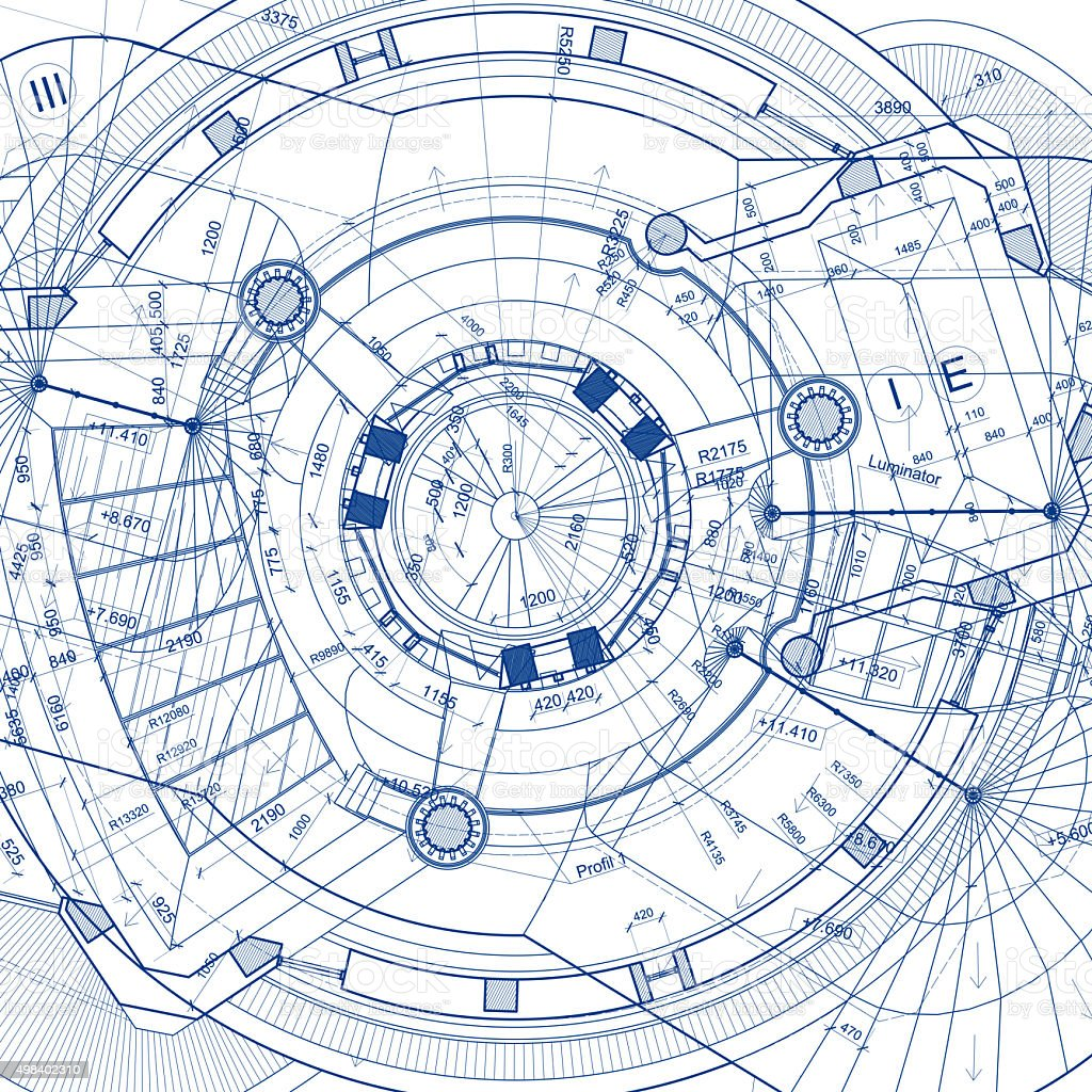 Architectural blueprints on white background stock photo