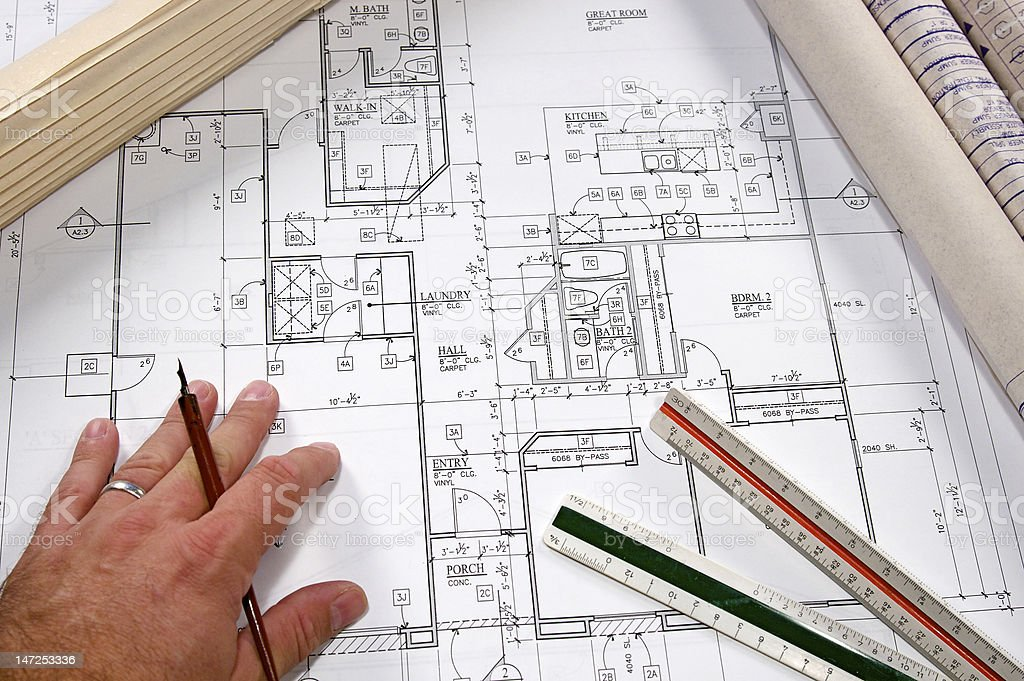 Architectural Blueprints royalty-free stock photo