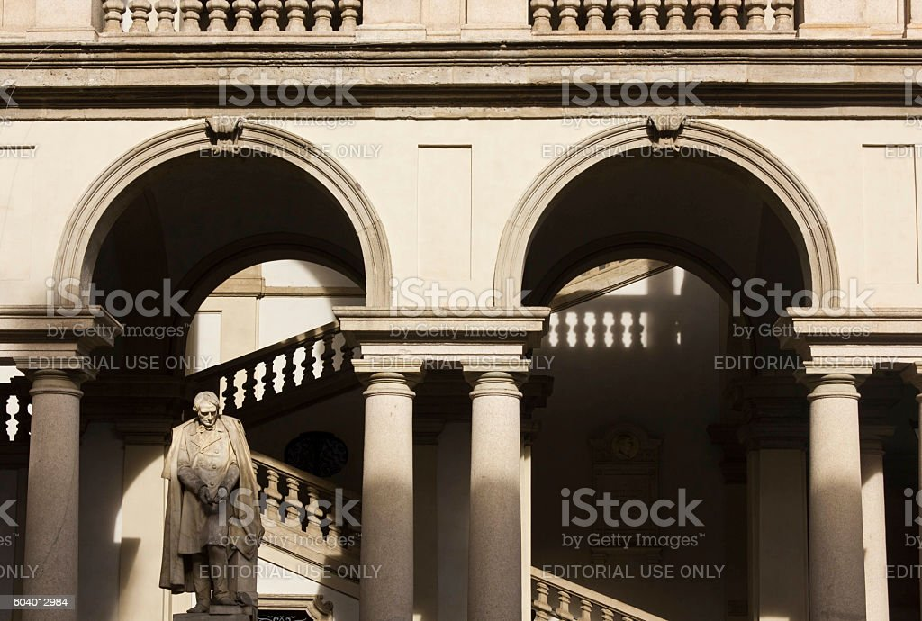 Architectural close up of Accademia di Brera courtyard stock photo