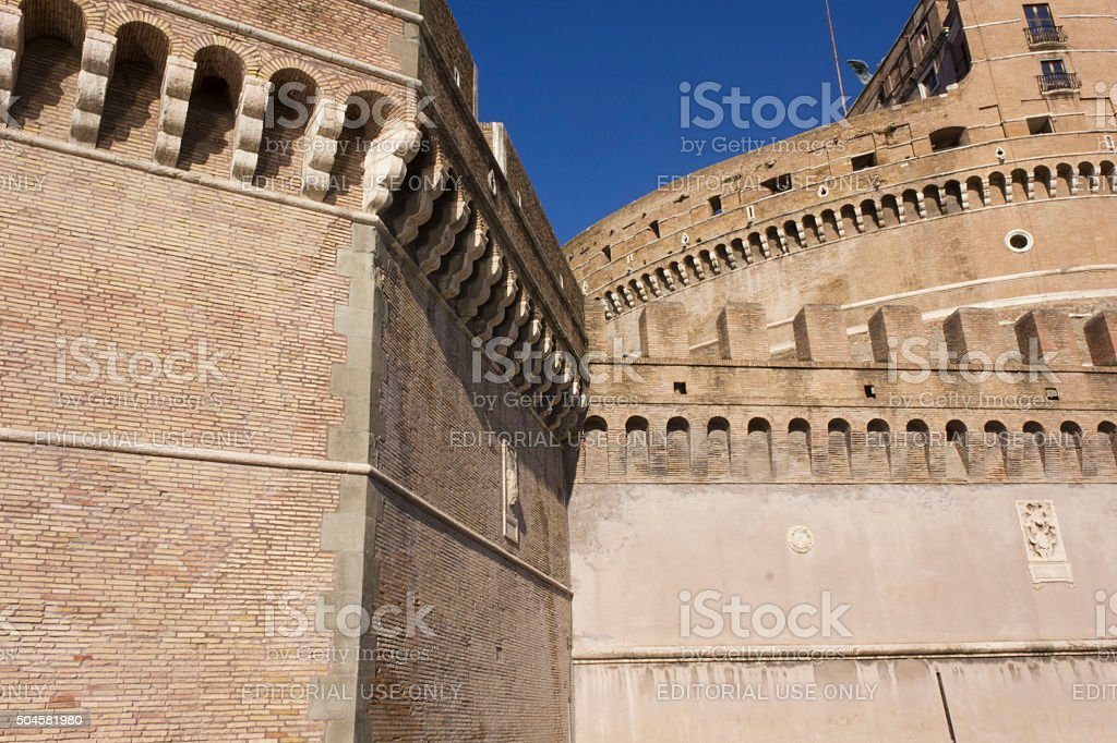 Architectural close up of Castel Sant'Angelo stock photo