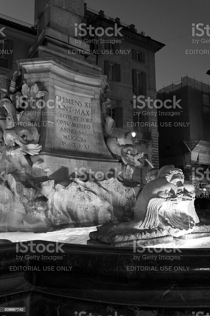 Architectural close up of the Fountain of the Pantheon stock photo