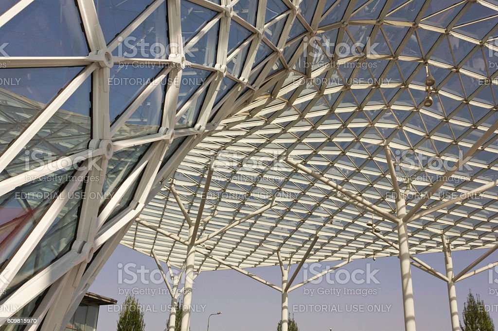 Architectural close up of the glass roofing of Milano Fiera stock photo
