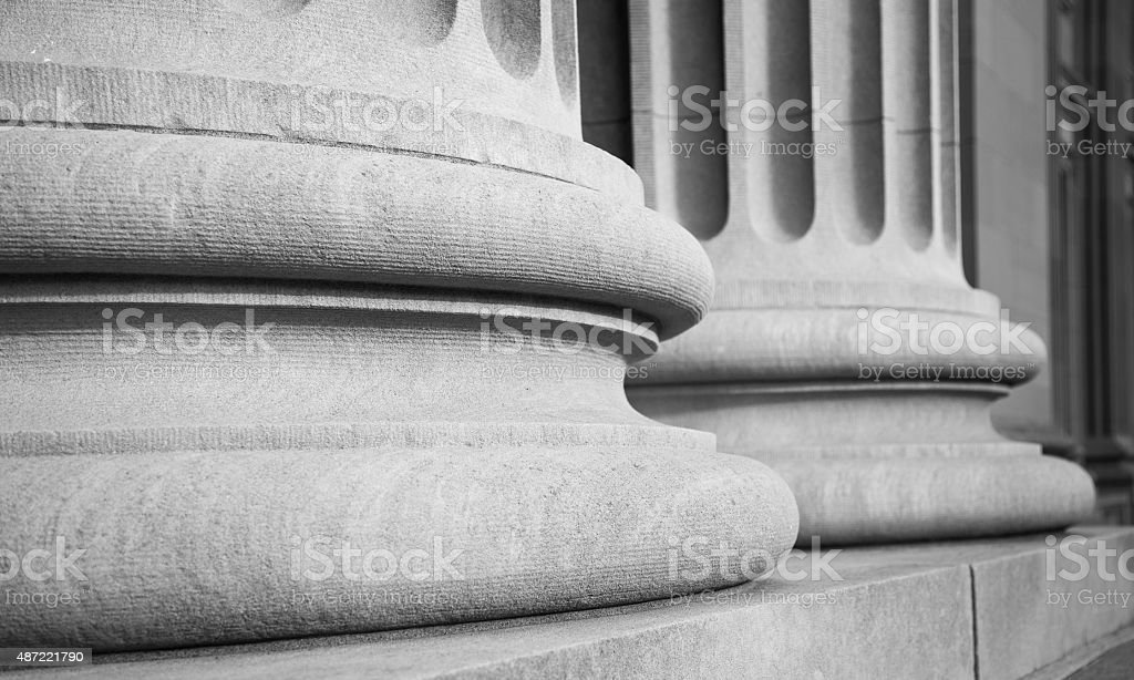 Architectural Columns in a Classic Federal Buuilding stock photo