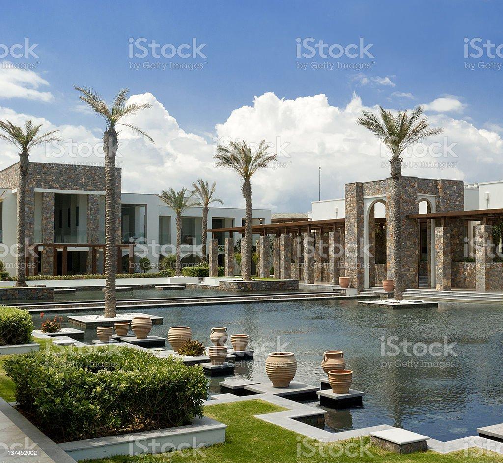 Architectural complex in Minoan style. stock photo