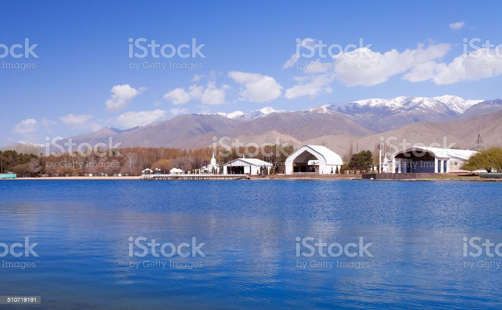 Architectural complex on bank of Issyk-Kul Lake stock photo