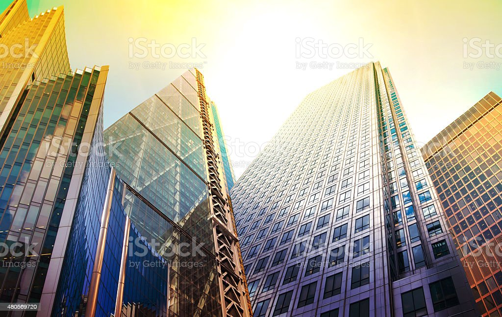 Architectural composition made of corporative buildings. Abstract business background stock photo