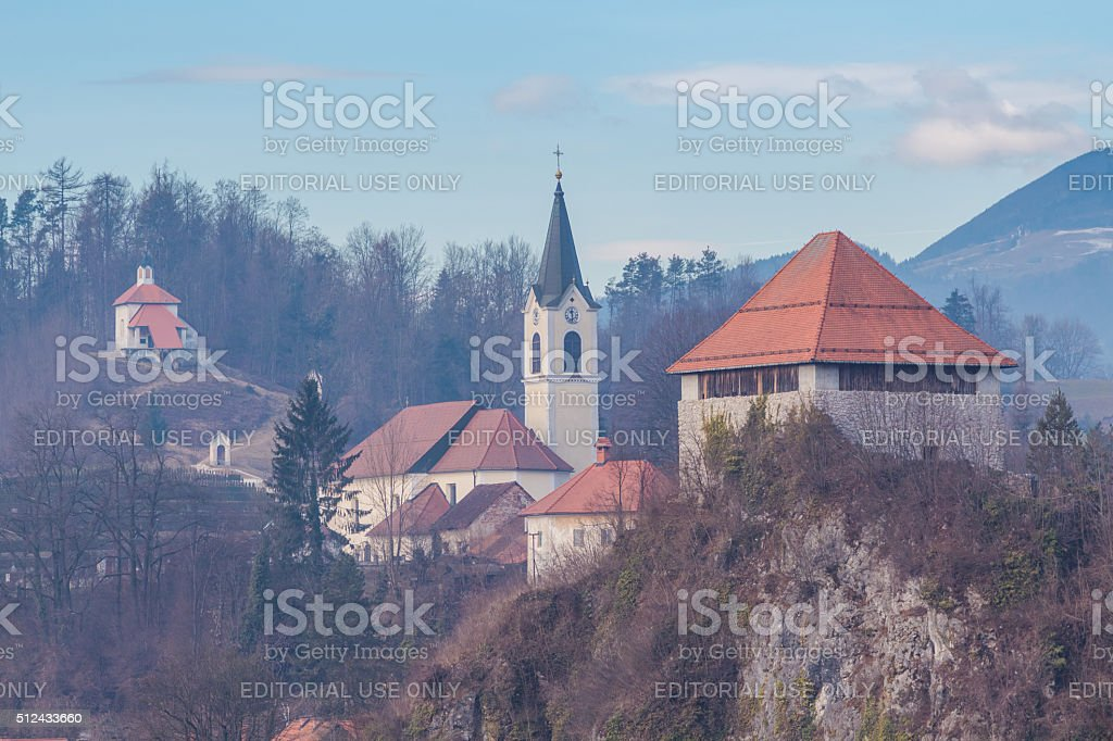 Architectural composition of Kamnik town. stock photo