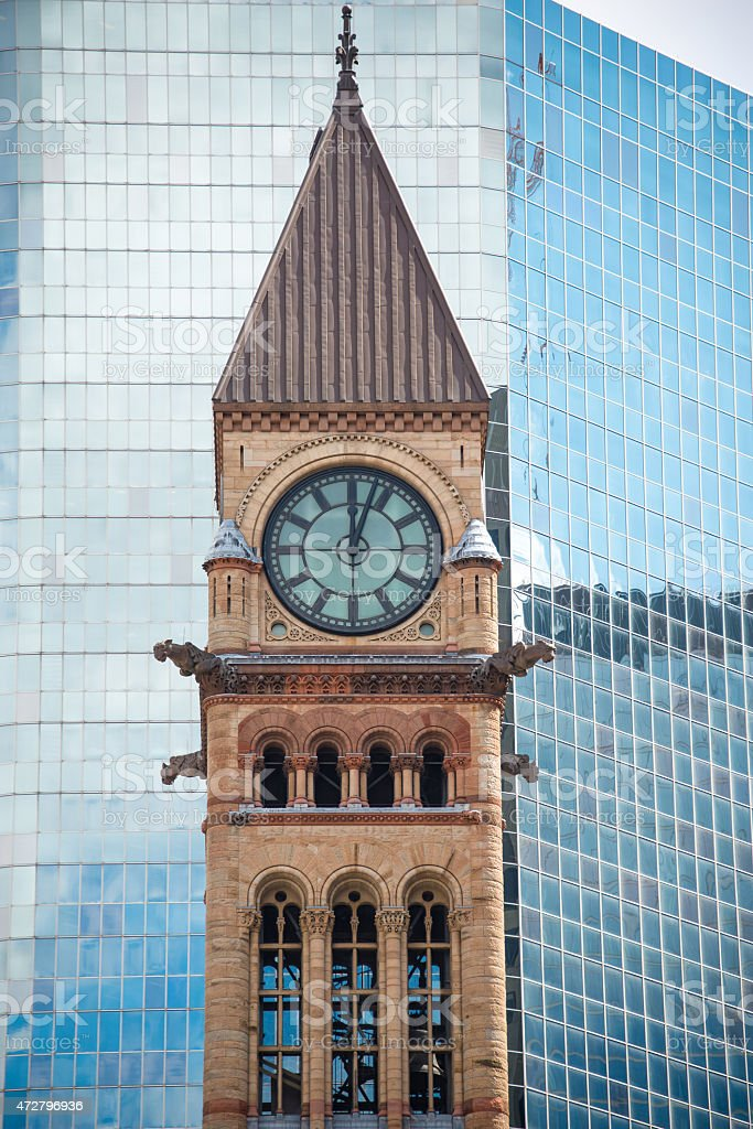 Architectural Contrast, Old City Hall and Modern Building stock photo