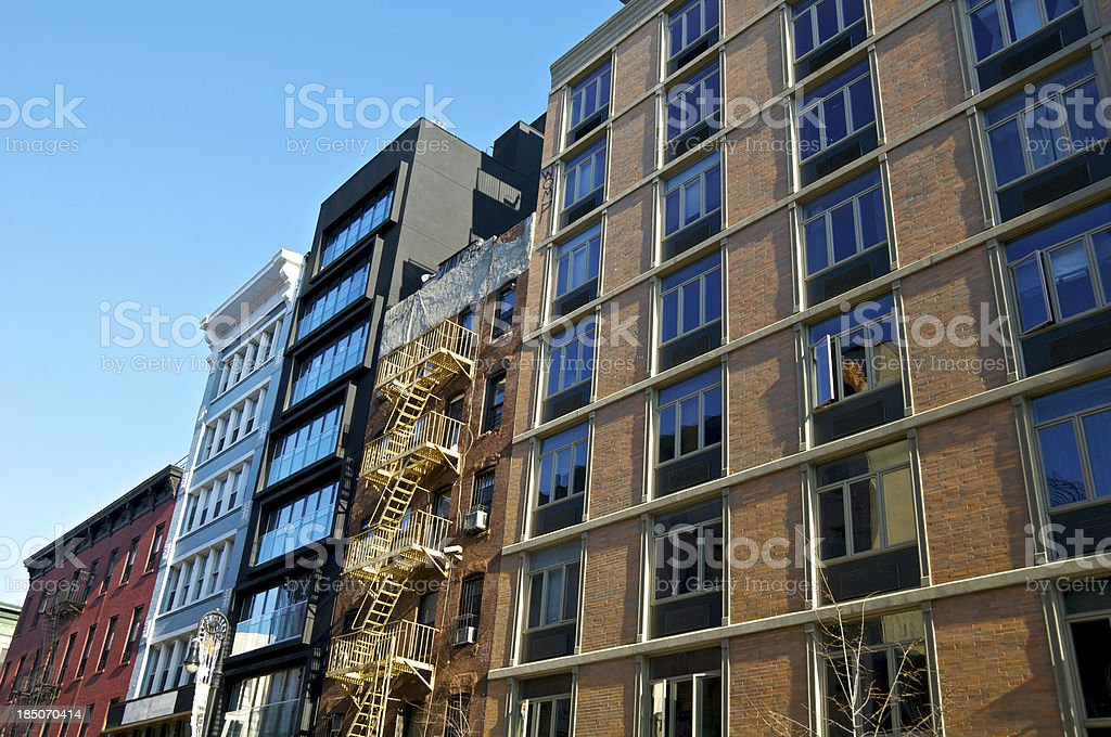 Architectural contrasts, styles & eras cityscape, Manhattan, New York City stock photo
