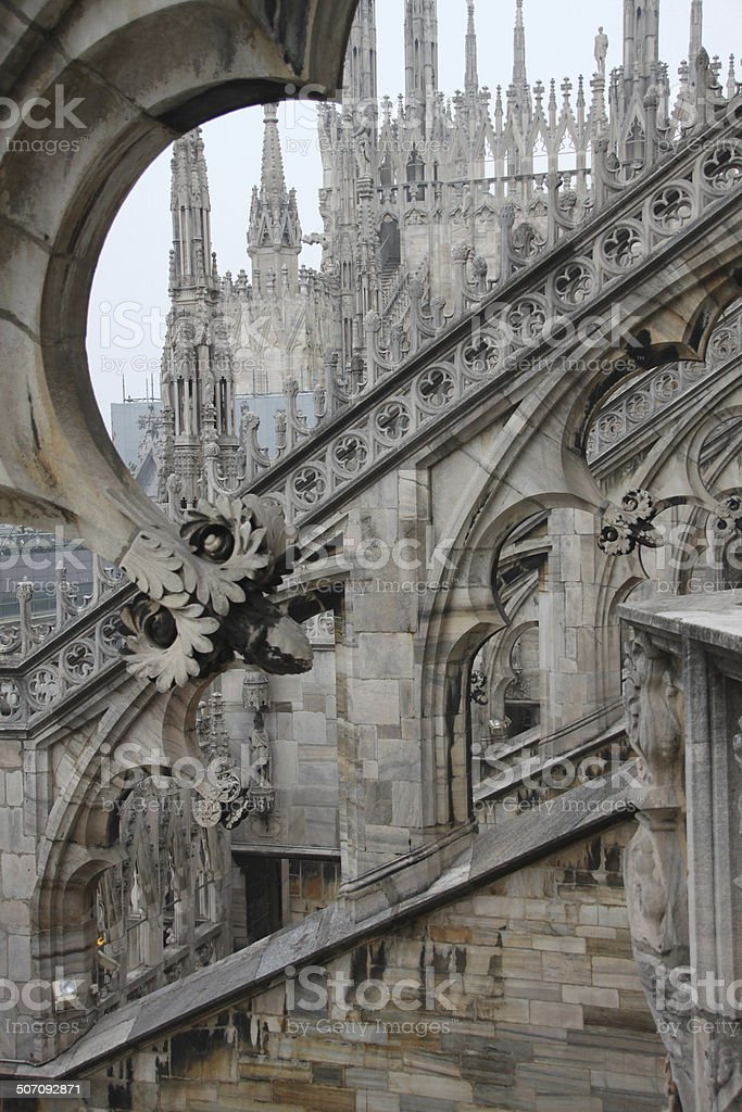 architectural curves of the Duomo, Milano, Italy stock photo