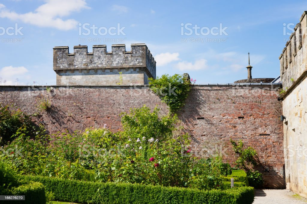 Architectural Detail Brick Wall, Lismore Castle, Ireland stock photo