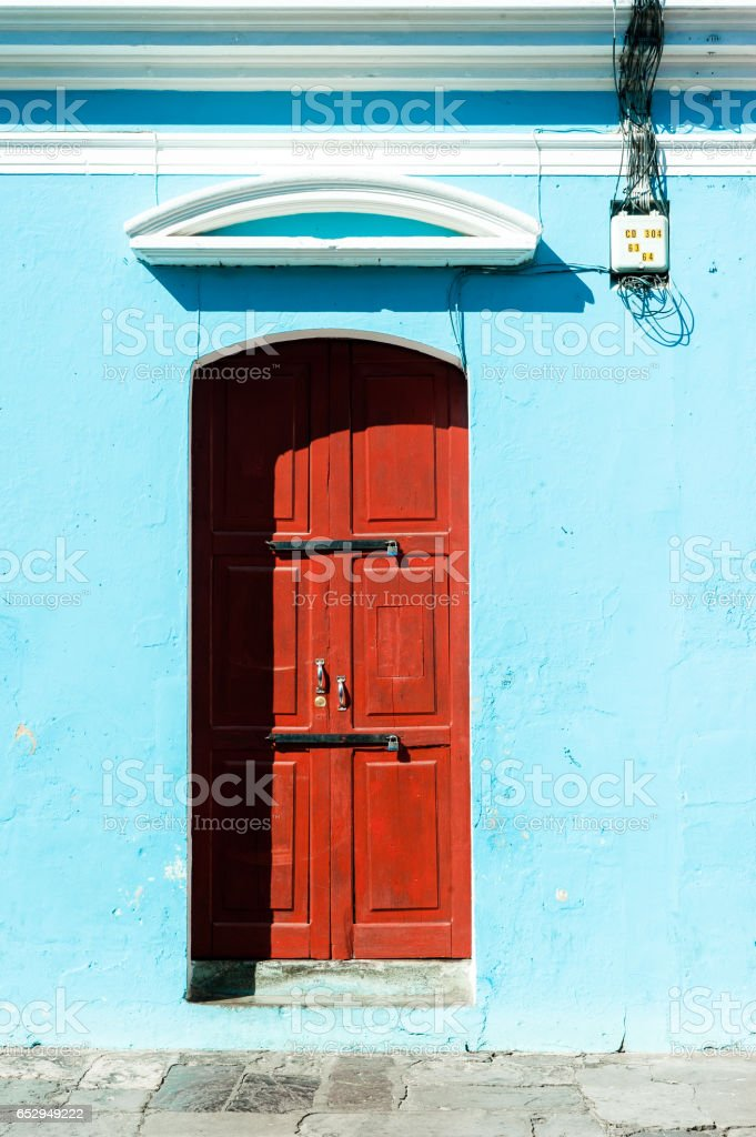 Architectural detail. Colorful colonial house in Antigua, Guatemala stock photo